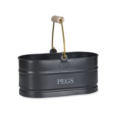 Pegs Tidy Caddy with Rustic Wooden Handles in Carbon Steel Finish