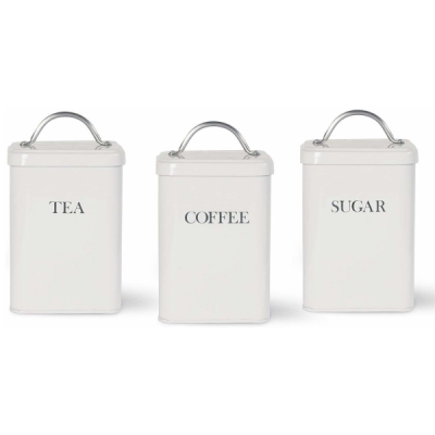 Chalk White Tea Coffee Sugar Kitchen Storage Canisters  by Garden Trading