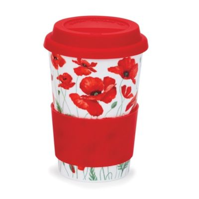 Wild Poppies Galore Ceramic Travel Mug Cup with Silicone Lid & Sleeve 440ml