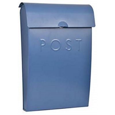 Metal Post Box with Lock in Lulworth Blue