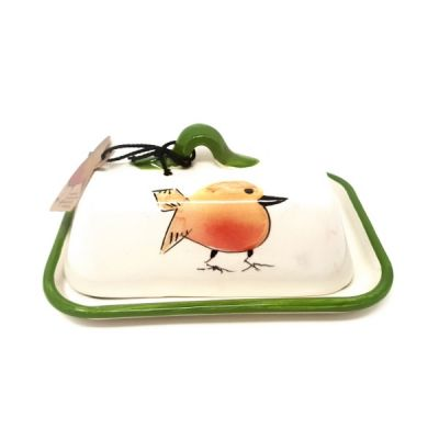 Festive Robin Christmas Butter Dish in Green