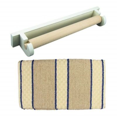 White Oak Roller Aga Towel Rail with Blue Stripe Cotton Towel