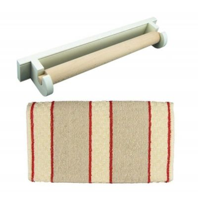 White Oak Roller Aga Towel Rail with Red Stripe Cotton Towel