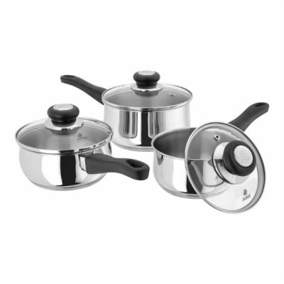 3 Piece Saucepan Set 16, 18, 20 cm in Stainless Steel Vista Range