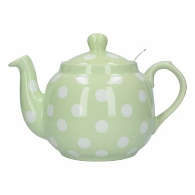 Traditional Farmhouse Filter Teapot in Peppermint with White Spots 4 Cup 1.2L