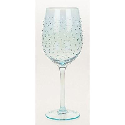 Blue Lustre with Dots Wine Goblet Glass Glassware Hand Decorated