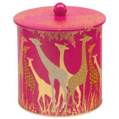 PInk Giraffe Biscuit Cookie Tin Jar Storage Canister from the Sara Miller Range