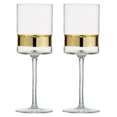 Set of 2 Contemporary SoHo Wine Glasses in Gold