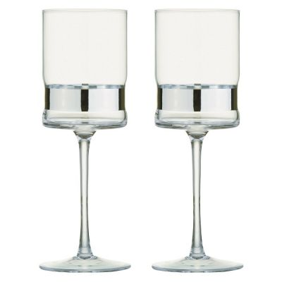 Set of 2 Contemporary SoHo Wine Glasses in Silver