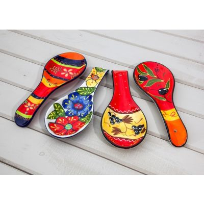 Spoon Rest Hand Painted Spanish Style 26cm