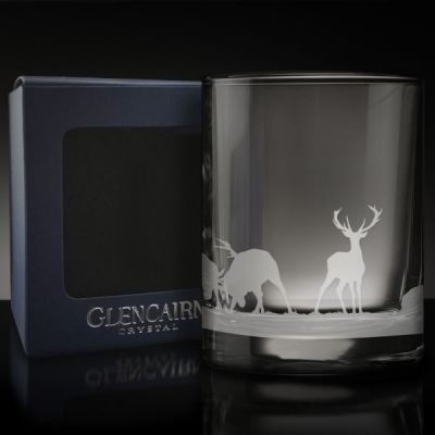 Scottish Stag Skyline Crystal Etched Whisky Glass Tumbler