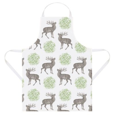 Kitchen Apron in Stag & Mistletoe Design made from Cotton