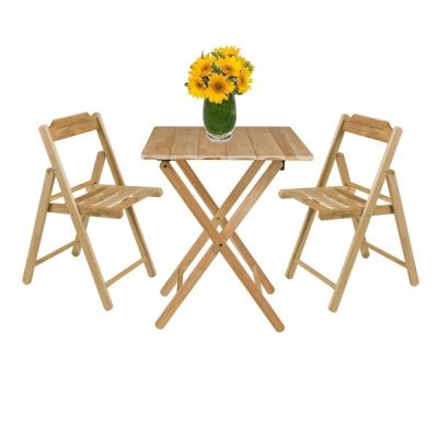 Outdoor Garden Teak Folding Wooden Bistro Table and 2 Chairs Set