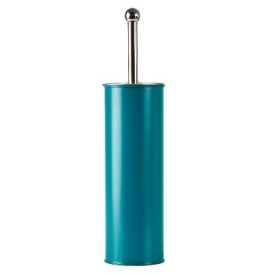 Petrol Blue Metal Toilet Brush with Holder