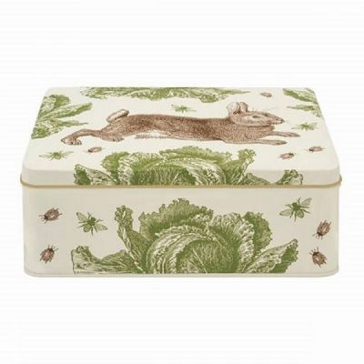 Rectangular Storage Tin in Rabbit & Cabbage Design by Thorback and Peel