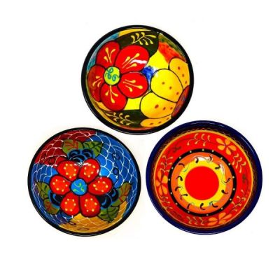 Set of 3 Medium Assorted Hand Painted Classic Spanish Tapas Bowls 9cm