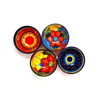 Hand Painted Set of 4 Assorted Spanish Snack Tapas Bowls 7cm by Divine Deli