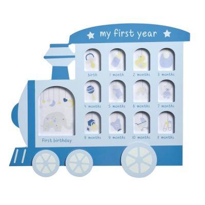 My First Year Blue Train Engine Multi Picture Photo Frame