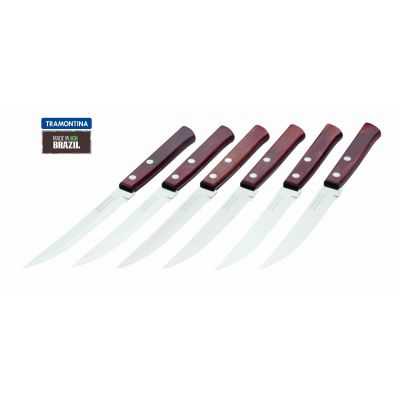 Steak Knives with Riveted Wooden Handles, Red, Set of 6