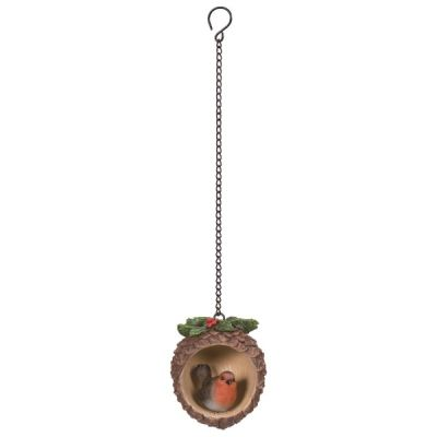 Hanging Robin Pine Cone Decoration Bauble