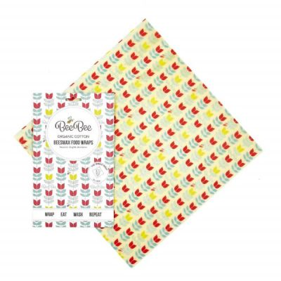 Tulip Design Organic Cotton Beeswax Food Wrap, Sustainable Food Storage, Single Pack