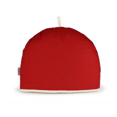 red tea cosy in jubilee red with a cream trim