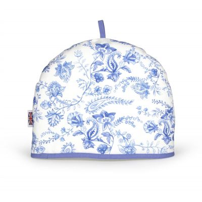 vintage tea cosy with a blue and white pattern - made in britain