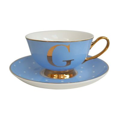 G Letter Alphabet Spotty and Gold Teacup and Saucer - Powder Blue