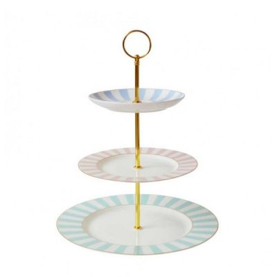 Stripy Striped Vintage 3 Tier Cup Cake Stand Pastels