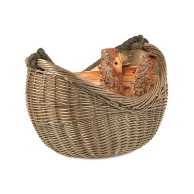 Wicker Log Basket with Rope Carry Handle