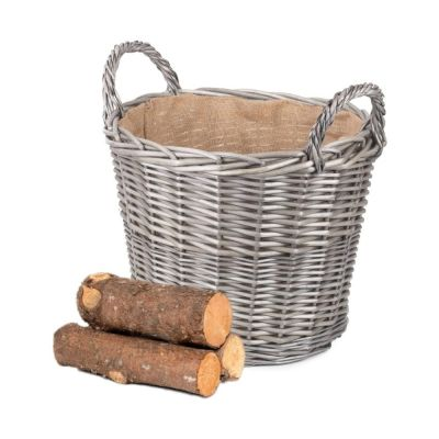 Willow Large Round Log Basket with Hessian Lining