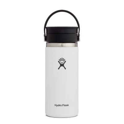 16oz Travel Coffee Flask Cup with Wide Mouth Flex Sip Lid in White
