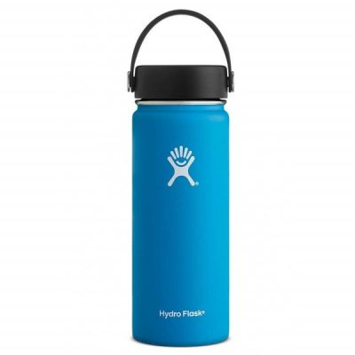 18oz Water Bottle Thermos Flask Wide Mouth Lid in Pacific Blue