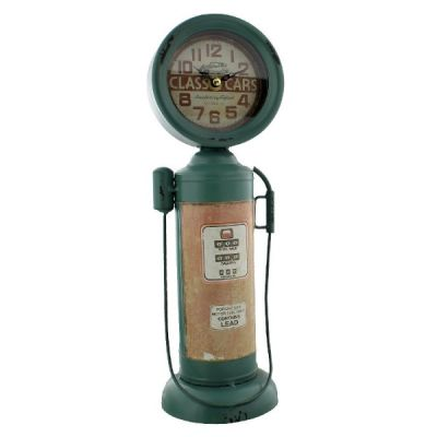 Metal Old Style Retro Gas Pump Mantel Clock from the Hometime Range