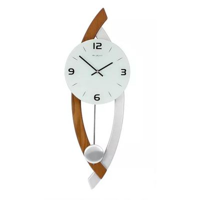 Stylish Pendulum Wall Clock with Curved Sides in Mahogany and Silver Wood Finish 63cm