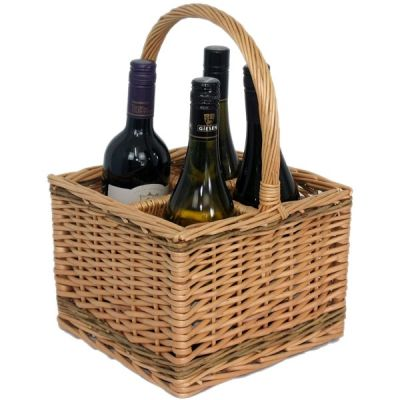 Willow 4 Bottle Carrier Carrying Basket