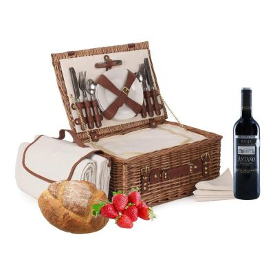 """Deluxe Fitted Picnic Hamper for 4 People 16"""" with Blanket"""