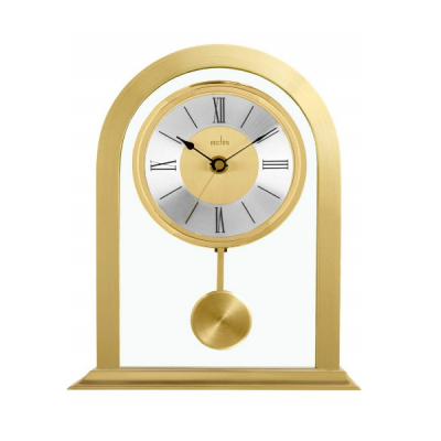 Colney Clock in Brushed Metal and Glass Gold