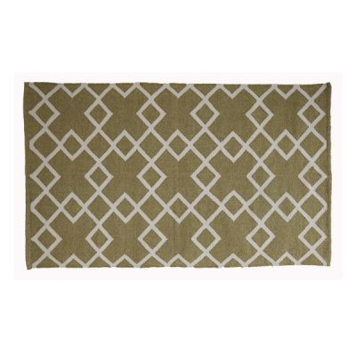 Lichen Green Soft Floor Rug in Juno Design 150cm x 90cm - Made from Recycled Plastic Bottles