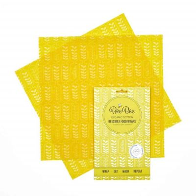 Wheat Design Organic Cotton Beeswax Food Wrap, Sustainable Food Storage, Sandwich Pack