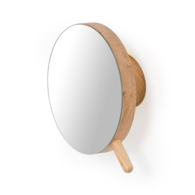 Wooden Magnifying Wall Mirror in Natural Oak by Lincoln Rivers Wireworks