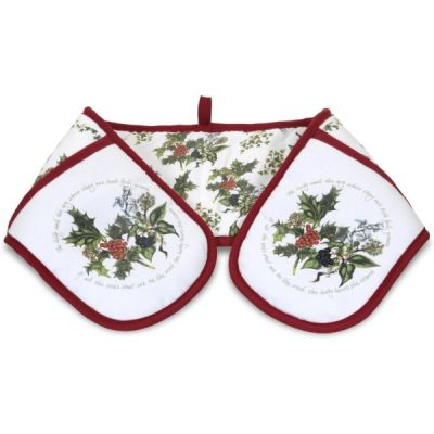 Holly and Ivy Christmas Double Oven Gloves