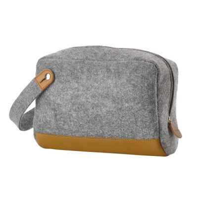 Light Grey Men's Felt and Leather Toiletry Bag