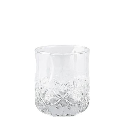 Set of 6 Clear Embossed Glass Whisky Tumblers