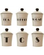 Art Deco Design Tea Coffee Sugar Set of 3 Canister Storage Jars