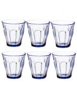 Set of 6 Tumblers in Marine Blue Glass 250ml from the Picardie Range