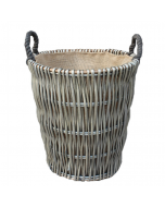 43cm Antique Willow Round Log Basket with Hessian Lining