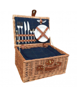 Fitted Deluxe Blue Tweed Picnic Hamper for 2 People with Chiller Compartment