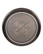 Country Living Bronze Effect Sun Garden Wall Clock & Thermometer