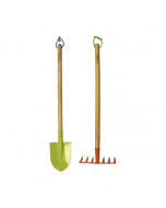Kids Long Spade And Rake Garden Set